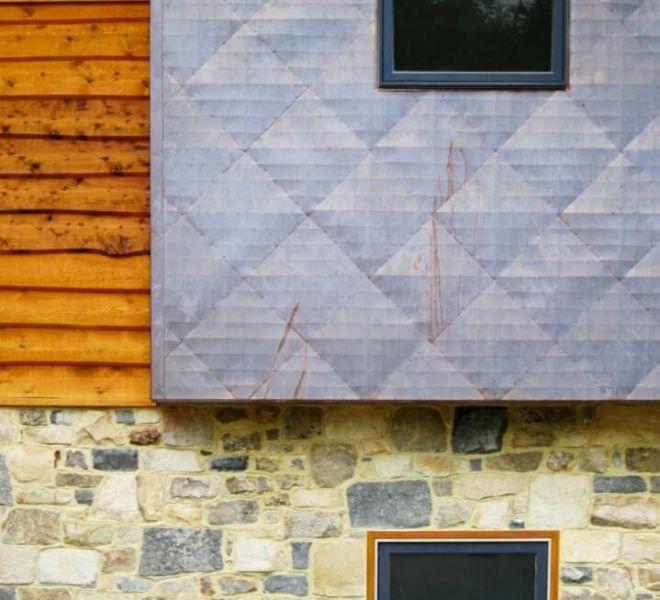 Copper Wall Wood Stone