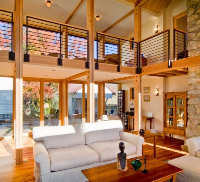 Glass Room On Log House interior open space living area