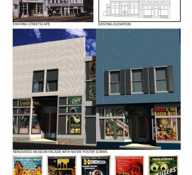 Alien Invasion existing streetscape and elevation with mockups and posters